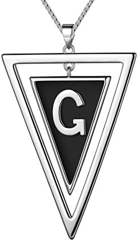 beautlace Double Triangle Letter G Necklaces Silver Plated Initial G Geometric Minimalist Pendant product image