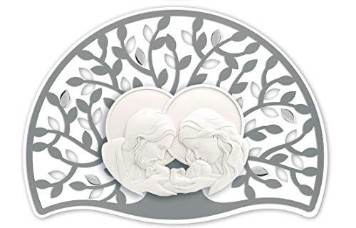 MAZZOLA LUCE Quadro capezzale per Camera da Letto Sacra Famiglia Moderna Albero della Vita Grigio Argento 90x65