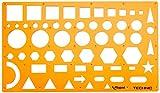 Maped - Normographe pour Croquis et Schémas - Trace-Formes Technic - Pochoir Cercles, Triangles, Carrés, Rectangles - 10 Formes Géométriques Tailles Diverses - Gabarit Antichoc