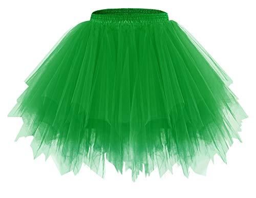 Bridesmay Mujeres Faldas Enaguas Cortas Tul Plisada Fiesta Tutu Ballet Verde XL