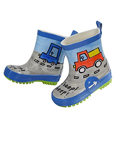 maximo Jungen Babygummistiefel, Kindergummistiefel, Naturgummi blau, Motiv Autos, handbemalt, jeder Stiefel EIN Unikat, Gr. 23