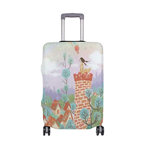 Travel Lage Cover Fresh Castle Balloon Little Girl Fortr Dream Suitcase Protector Fits 26-28 Inch Washable Baggage C.