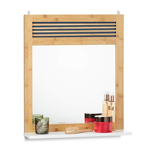 Relaxdays, Natur/weiß Badspiegel mit Ablage, verzierter Wandspiegel, Bambus Badezimmerspiegel HBT: 61 x 53 x 15 cm, Spiegelglas, Standard