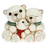 THUN - Soprammobile Famiglia di Orsi Polari - Accessori per la Casa da Collezionare - Linea Un Pensiero Felice - Formato Medio - Ceramica -17,8 x 12,4 x 14,8 h cm