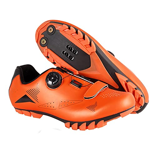 ZHBW Zapatillas De Ciclismo MTB para Mujer,Zapatillas Bicicleta Montaña Hombre Bloqueo Automático Exteriores (Color : Orange, Shoe Size : 41 EU)