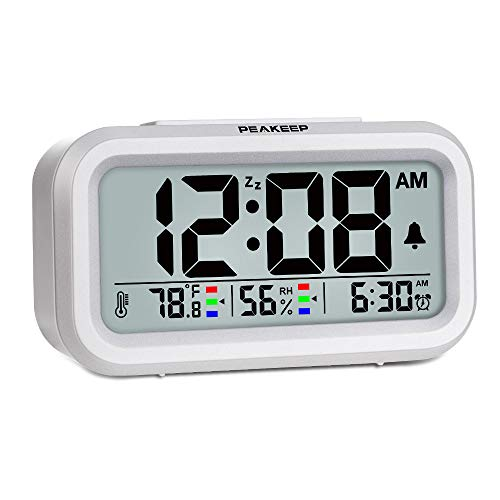 Peakeep Indoor Humidity Temperature Digital Alarm Clock for Bedrooms, Smart Night Light, Battery Operated Small Easy Desk Bedside Gifts Clock (White)