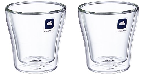 Leonardo Duo Becher 2er Set, Thermoglas, Kaffeeglas, Doppelwandig, Borosilikatglas, 40 ml, 54127