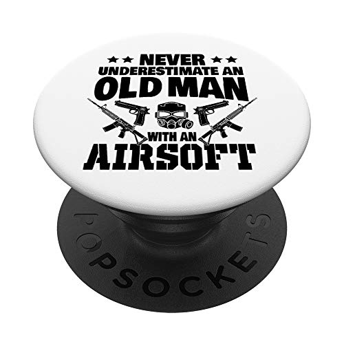 Never Underestimate an Old Man with an Airsoft Gun Dad PopSockets PopGrip: Swappable Grip for Phones & Tablets