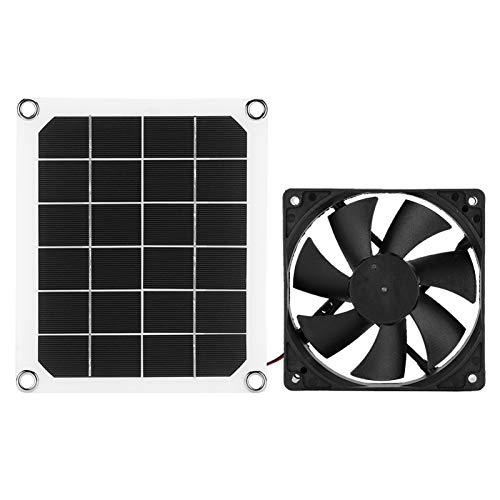 Jiawu Ventilador de Escape, Panel Solar monocristalino, Panel de energía Solar al Aire Libre de Carga USB 6V 10W para Invernadero de gallinero