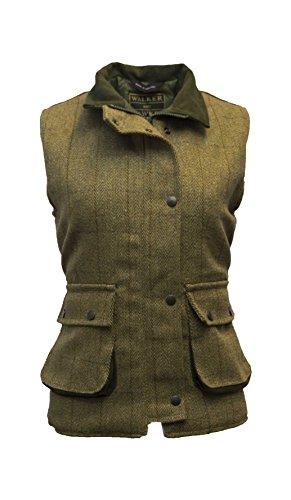 Walker and Hawkes Damen Country-Weste aus Tweed - für die Jagd geeignet - Helles Salbeigrün - Größen 34 bis 50