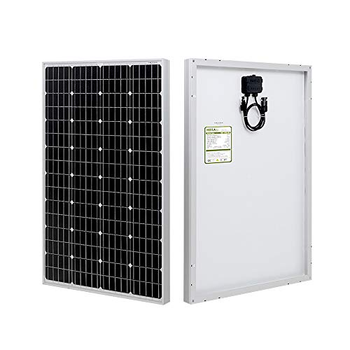 HQST 100 Watt 12 Volt Monocrystalline Solar Panel with Solar Connectors High Efficiency Module PV Power for Battery Charging Boat, Caravan, RV and Any Other Off Grid Applications