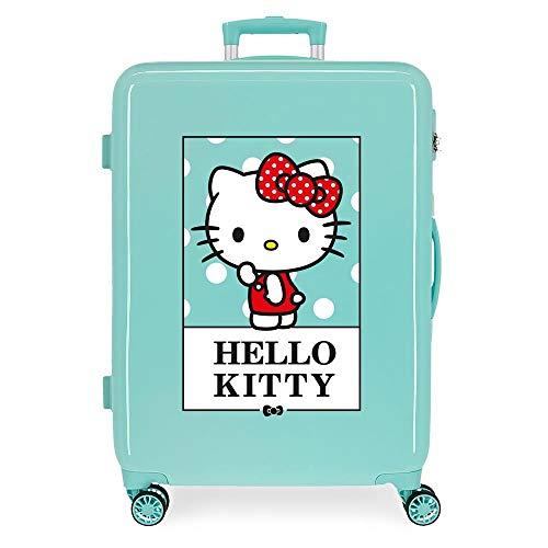 Hello Kitty Bow of Hello Kitty Maleta Mediana Verde 48x68x26 cms Rígida ABS Cierre de combinación Lateral 70L 2,66 kgs 4