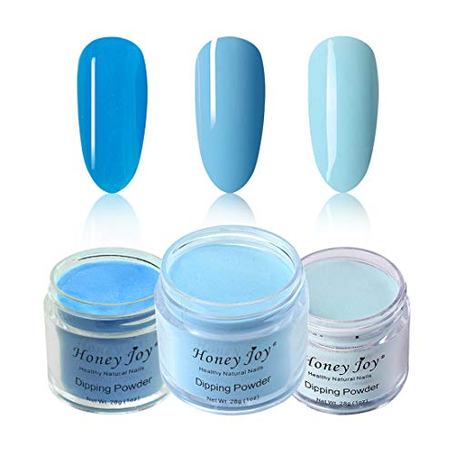 Honey Joy 3pcs 28g/Box Fine Dipping Powder No Need Lamp Cure Dip Powder Nails,Sky Blue,Turquoise Blue,Grey Blue,Like Gel Polish Effect,Even & Smooth Finishing,(79-14-40)