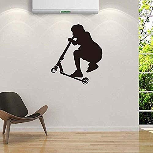 Muursticker,Scooter Race Boy for Nursery Kinderkamer Jongens Slaapkamer Art Decals Vinyl Behang Woonkamer Art Muurschilderingen 56x66cm