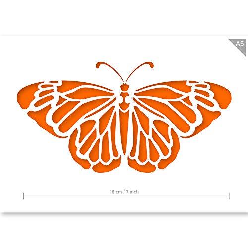 QBIX Schmetterling Schablone - A5 Größe - Wiederverwendbare Kinder freundlich DIY Schablone zum Malen, Backen, Basteln, Wand, Möbel