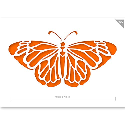 Qbix Butterfly Stencil - A5 Size - Reusable Kids Friendly Stencil for Painting, Windows, Crafts, Wall, Furniture