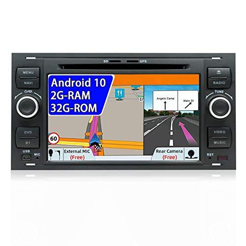 7 pouces Android 7.1 2G-RAM Quad Core Double voiture stéréo GPS Radio Navigation Fit pour Ford C-Max/Connect/Fiesta/Focus/Fusion/Galaxy/Kuga S-Max/Transit/Mondeo Schwarz Libre Caméra&CANBUS