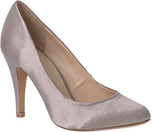 Damen Pumps mit hohem Absatz, einfarbig, Satin, Außenschuhe, elegante Schuhe für Hochzeit, Braut, Brautjungfern, Party, Abschlussball, Beige - taupe - Größe: 39 EU