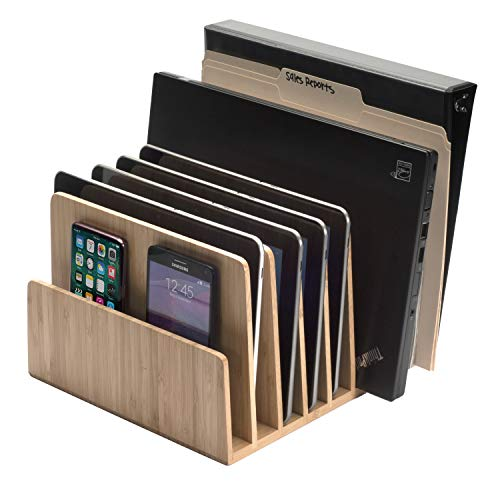 MobileVision Bamboo Device Organizer for Smartphones, Tablets and Laptops, 7 Slots
