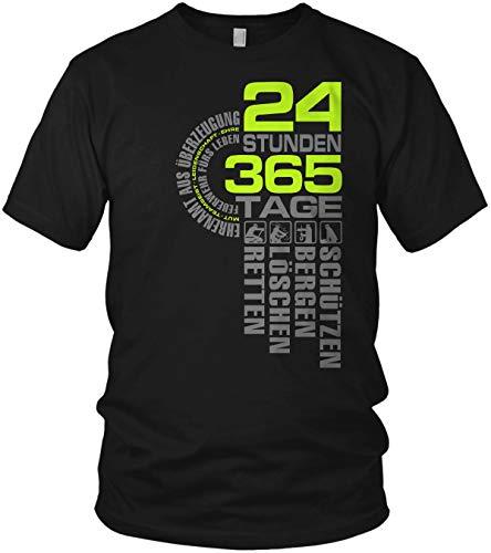 24 Stunden 365 Tage Retten, Löschen, Bergen, Schützen 112 - Ehrenamt Freiwillige Feuerwehr Spruch Motiv - Herren T-Shirt und Männer Tshirt, Größe:XL, Farbe:Schwarz