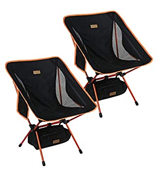 Trekology 2pc YIZI GO Portable Camping Chairs Two Pack Compact Ultralight Folding Backpacking Chairs Small Collapsible Foldable Packable Lightweight Backpack Chair for Outdoor Camp Picnic Hiking