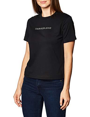 Calvin Klein Jeans Damen Shrunken Inst Modern Ss Tee Hemd, Ck Black, S