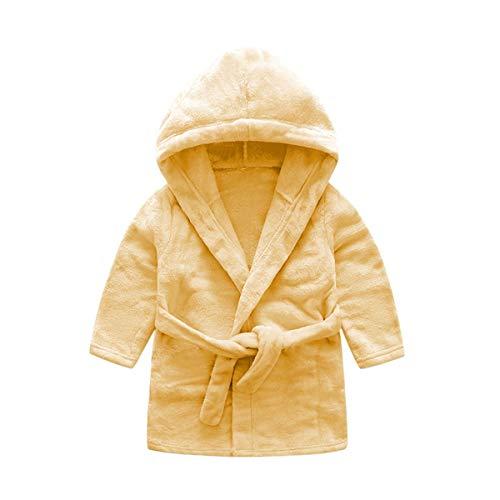 DEBAIJIA Bebé Albornoz 0-14T Recién Nacido Bata de Baño Casa Infantil Pijama Niños Noche Ropa de Dormir Niño Niña Unisexo(Amarillo Claro-59)