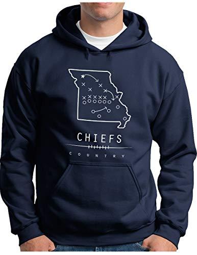 OM3® - Kansas City Taktik - Hoodie - Herren - American Football Team - Kapuzen-Pullover Navy, XL