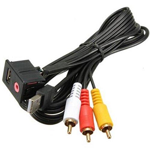 Set Prise Aadaptateur USB AUX Jack 3.5mm 3RCA Voiture Tableau de Bord Câble D'extension Monté