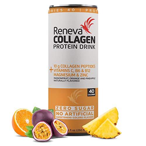 Reneva Collagen Protein Drink - 10g Collagen Peptides, Electrolytes, B-Vitamins, Zinc, and Zero Sugar