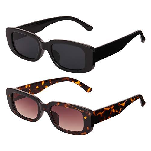 AKlamater 2 Paar Rechteckige Sonnenbrille Retro Vintage Rechteck Fashion Brille mit Quadratischem Rahmen UV 400 Schutz Retro Linse für Frauen Männer