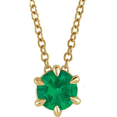 Solid Emerald Solitaire Charm Pendant Chain Necklace