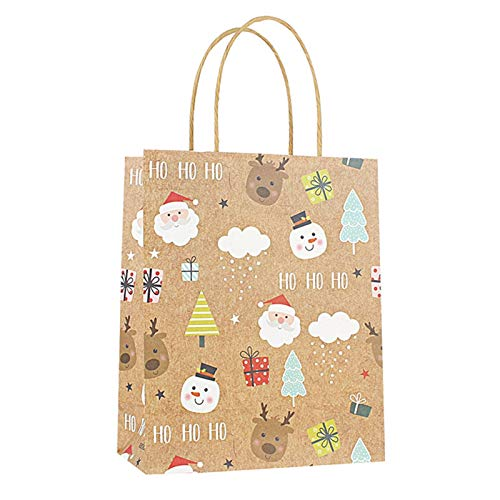 12 Pcs New Year Kraft Paper Gift Bags Christmas Favors Shopping Packing Bag Present Packet Santa Claus Gift Bags gift bag (Color : S)