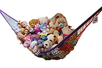 MiniOwls Storage Hammock Stuffed Toys Organizer - Fits 20-30 Plush Animals Great Gift for Boys and Girls Instead of Bins and Toy Chest – Displays Teddies Easily  Rainbow Large