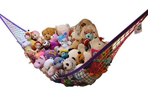 MiniOwls Toy Storage Hammock - Organizational Stuffed Animal Net for Play Room or Bedroom. Fits 30-40 Plushies. Comes in a Gift Box. (Rainbow, X-Large)