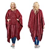 Fleece Wearable Blanket Poncho for Adult Women Men,Wrap Blanket Cape with Pocket |Warm,Soft,Cozy,Snuggly,Comfort Gift,No Sleeves|All Season,Wine