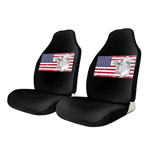 Little Yi Schweißer Schweißen Retro amerikanische Flagge Universal Printing Autositzbezug Vordersitzbezüge Schwarz für Autos