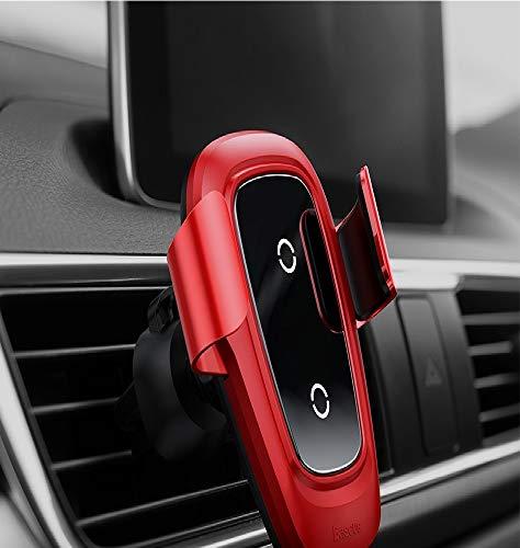 10 W Qi cargador inalámbrico para iPhone x 8 Plus Samsung S9 Plus S8 cargador de coche inalámbrico rápido Pad teléfono móvil soporte rojo