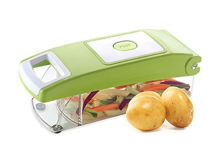 5 IN 1 VEGETABLE AND FRUIT ULTRA SLICER AND CUTTER. 5 COMPONENTS INCLUDED. UNBREAKABLE POLY CARBONATE CONTAINER & STAINLESS STEEL BLADE. EASY PUSH & CLOSE BUTTON. NO ELECTRIC POWER REQUIRED TO OPERATE