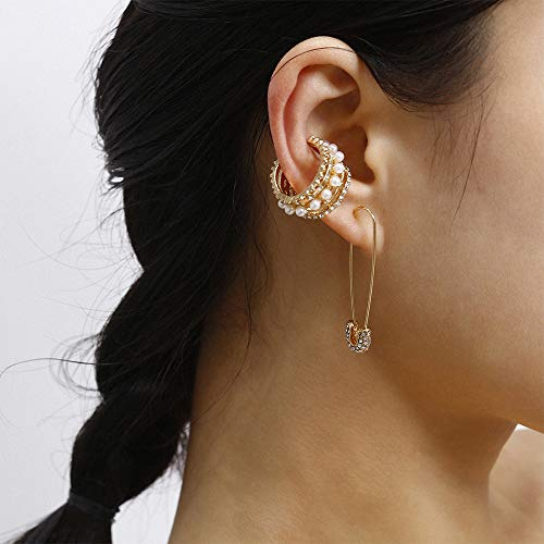 Anglacesmade Boheemse CZ Safety Pin Oorbellen Niet-Piercing Cartilage Oor Clip Vintage Parel Oor Hoop voor Vrouwen en Meisjes