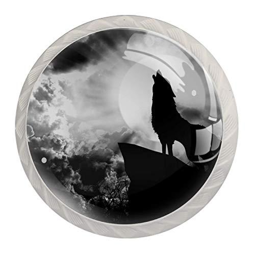 [4 pz]Manopole per armadio da cucina in tinta unita, quadrate con cassetti e maniglie per armadietto, tira lupo grigio animale