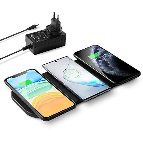 zealso& 3x10W Qi Triple Wireless Ladestation, 3-Geräte Multi Induktions Ladegerät Superdünnes Schnelles Wireless Charger mit EU AC Adapter für iPhone 11, Galaxy Note 10 & Alle Qi-fähigen Handys