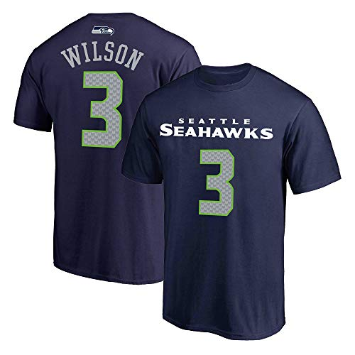NFL Youth 8-20 Team Color Polyester Performance Mainliner Player Name and Number Jersey T-Shirt (Small 8, Russell Wilson Seattle Seahawks Navy)