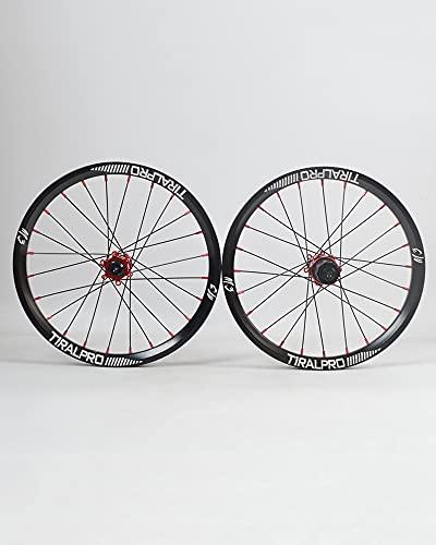 LLC Juego De Ruedas De Bicicleta De Freno De Disco De 16/18/20'Buje De Aleación De Aluminio Ruedas De Bicicleta 24H Volante De Inercia De 8-11 Velocidades De Liberación Rápida,Rojo,20 Inches