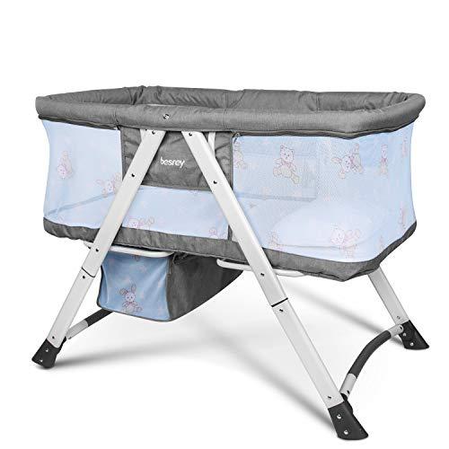 Besrey 3 in 1 Stubenwagen Reisebett Babybett mit einer Matratze, Kissen, Moskitonetzen klappbar