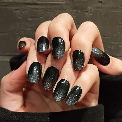 Bohend Punk Falsche Nägel Schwarz Oval Gefälschter Nagel Funkeln Farbverlaufsnägel Nachtclub Datum Party Drücken Sie auf Nagel zum Frauen und Mädchen