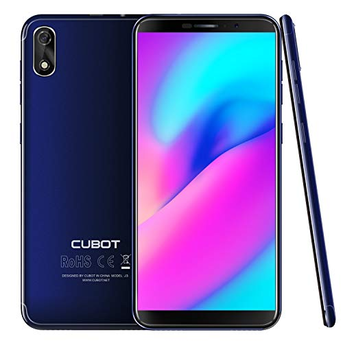 "CUBOT J3 (2018) Pantalla 18:9/5.0"" Android GO Reconocimiento Facial Dual Sim 1GB + 16GB, Cámara Trasera 8MP / Frontal 5MP, Procesador Quad-Core MT6580, WiFi, Bluetooth,GPS, 2G 3G 2000 mAh Azul"