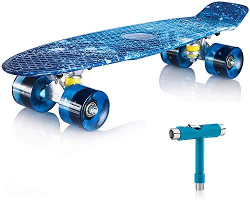 """Newdora Skateboard 22\"""" kompletter Mini Cruiser Komplettboard mit Buntem LED-Lichtrad für Kinder, Jungs, Mädchen(Galaxy,22)"""