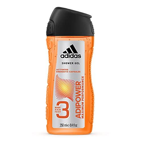 adidas adipower Douchegel voor heren, 3-in-1, activerende douchegel voor lichaam, haren en gezicht, pH-huidvriendelijk, per stuk verpakt (1 x 250 ml)