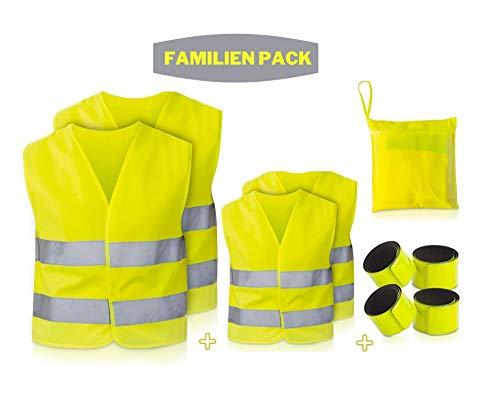 TNSport Premium Warnweste Auto Familien Set (2 Erwachsene + 2 Kinder)- Pannenweste mit hoher Sichtbarkeit 360 Grad Reflektoren - Warnwesten Auto